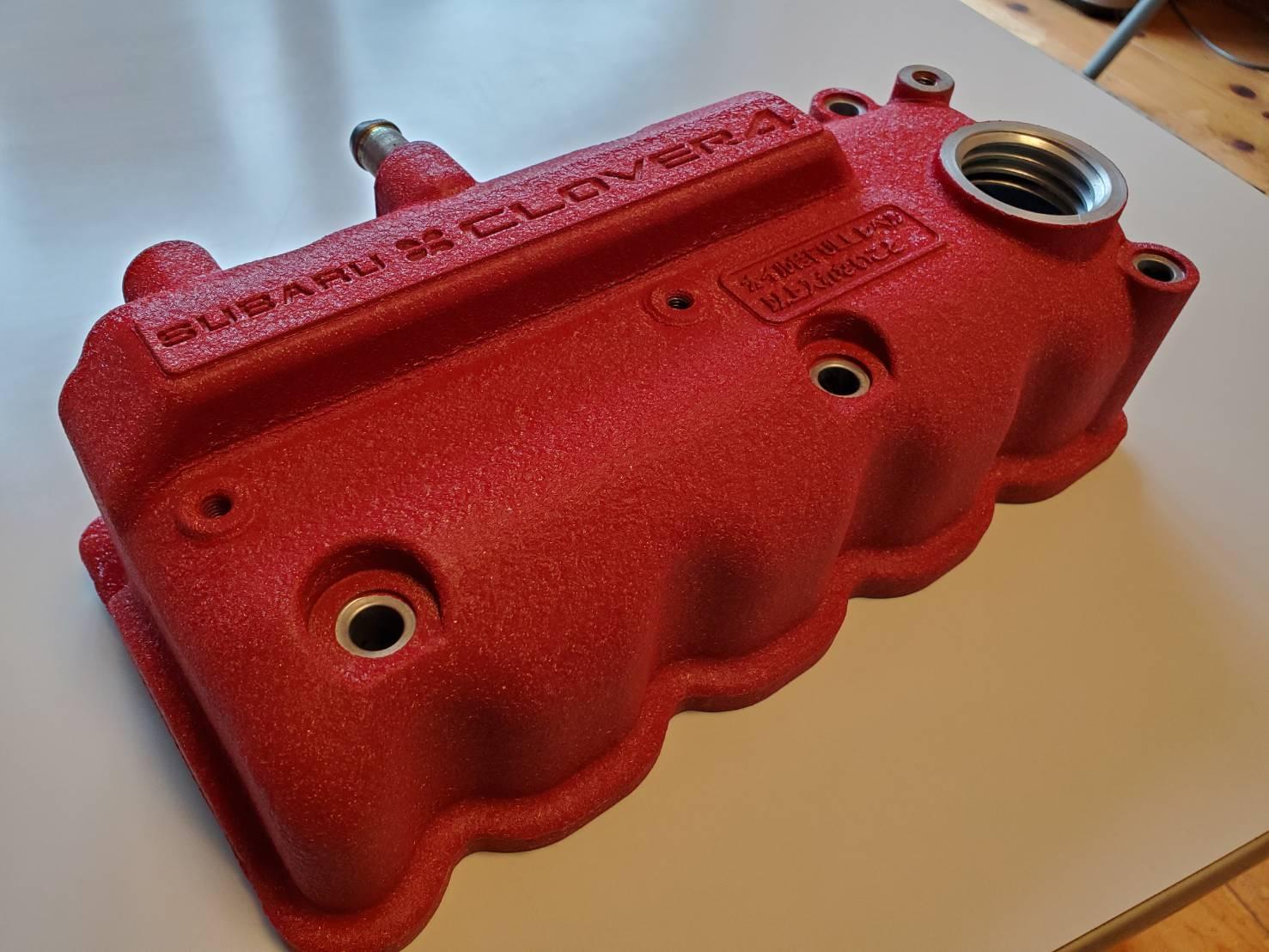 結晶塗装TT2サンバー赤ヘッドEN07タペットカバー